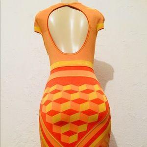 Zac Posen geometrical print bodycon fitted dress
